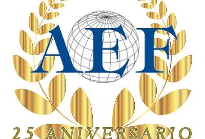 Logotipo de los 25 años de la AEF